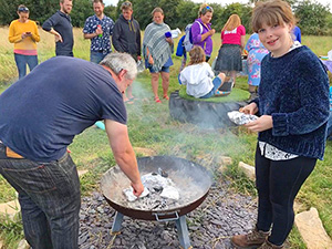 Lydia at the campfire