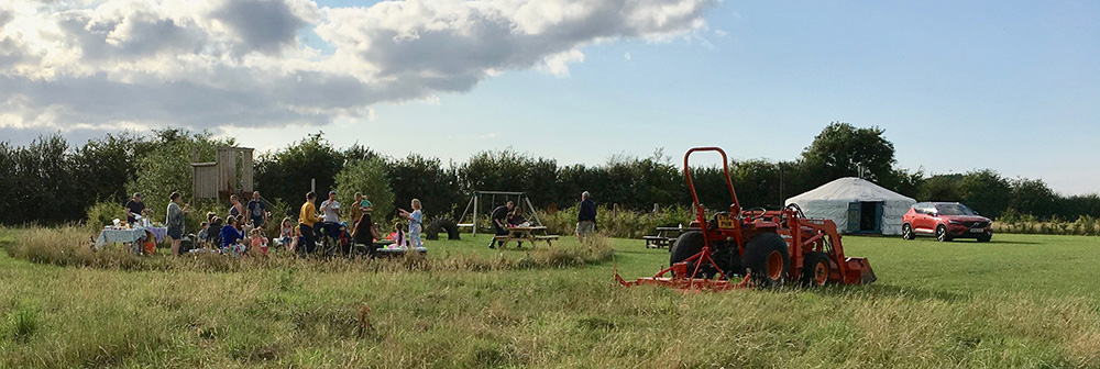 Camp set up at Tractors and Cream Glamping event